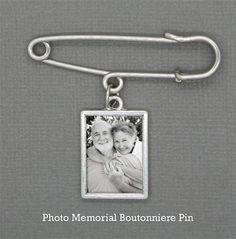 Wedding boutonniere pin memorial charm