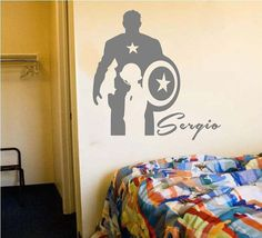 Captain America wall decor decal with custom name for boys bedroom wall art sticker superhero mural children father's day birthday gift