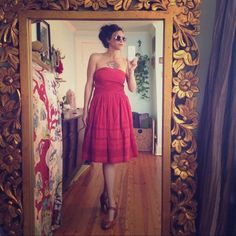 """Anthropologie-Víola- Red eyelet- strapless dress Queen for the day! This stunning beauty is 100% cotton goodness, I added a 1"""" strip of red silk to give me a little more coverage but it could be easily taken off. Excellent dress for summer weddings. MEASURES: 15"""" laying flat across the bust, top of bust to bottom hem is 33"""", waist is 14"""" laying flat. Anthropologie Dresses Strapless"""