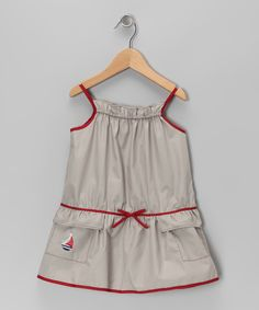 Look at this Red & Taupe Sailboat Dress - Infant & Girls on #zulily today!