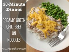 Creamy Green Chili Beef on Noodles (20-Minute Real-Food Dinner). Would also be great on rice or potatoes... this recipe will satisfy that comfort-food craving without sacrificing health!
