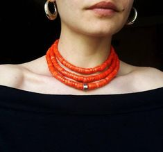 Antique coral necklace Red Coral Beads natural Coral Necklace