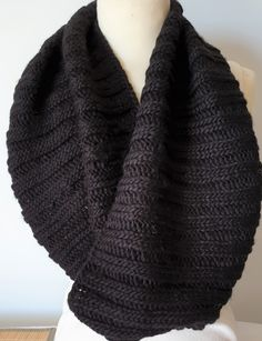 Hand knitted black cowl in wool mix for men and women by Ebooksandhandmade on Etsy Mittens, Hand Knitting, Cowl, Etsy, Accessories, Black, Women, Fashion, Fingerless Mittens