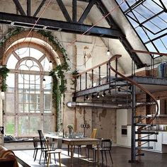 n industrial loft design was meant for an artist and it combines the best of both worlds. A living area and a workshop. This industrial interior loft is a wonde Industrial Design Furniture, Industrial Living, Industrial Interiors, Industrial Style, Industrial Office, Industrial Windows, Industrial Apartment, Industrial Stairs, Industrial Shelving