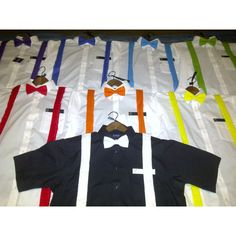 Groomsmen's attire rainbow wedding.. change the bows to ties and then add the shoes and we are set