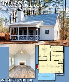 Compact and Versatile 1- to 2-Bedroom House Plan - 24391TW | Architectural Designs - House Plans Building A Tiny House, Modern House Plans, Small House Plans, House Floor Plans, Home Design, Tiny House Design, Design Ideas, Interior Design, Plans Architecture