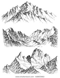 Find Mountains Vector Set Hand Drawn Rocky stock images in HD and millions of other royalty-free stock photos, illustrations and vectors in the Shutterstock collection. Thousands of new, high-quality pictures added every day. Landscape Pencil Drawings, Landscape Sketch, Ink Pen Drawings, Fantasy Landscape, Landscape Art, Drawing Sketches, Sketching, Mountain Sketch, Mountain Drawing