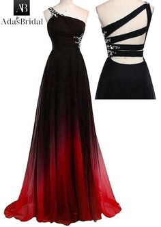In Stock Chic Gradient Chiffon One-shoulder Neckline A-Line Prom Dresses  With Beads e4d59cff7478