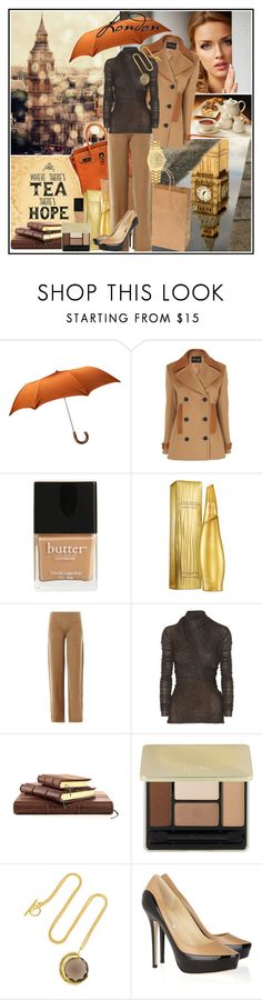 """rain, tea & style"" by manicurelover ❤ liked on Polyvore featuring Hermès, Jaeger, Butter London, Donna Karan, MaxMara, Rick Owens, Guerlain, Katie Rowland, Jimmy Choo and Rolex"