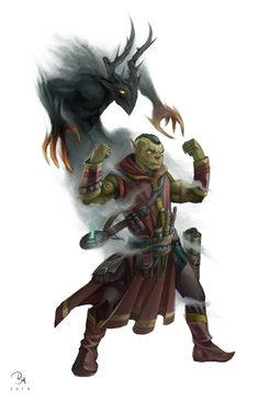Orc shaman (terrorist) going into human settlements and sacrificing themself and summoning demons Fantasy Character Design, Character Creation, Character Concept, Character Inspiration, Character Art, High Fantasy, Fantasy Rpg, Medieval Fantasy, Dnd Orc