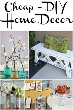 EASY DIY projects for home decor that don't cost a lot and are really cute! Tons of diy ideas for the home here, bedrooms, dining rooms and…