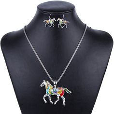 Rainbow Horse Necklace Earrings Jewelry Gift Set