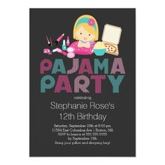 Shop Cute Tween Pajama Birthday Party Invitation created by invitationstop. Pajama Birthday Parties, Birthday Party For Teens, Sleepover Party, 12th Birthday, Teen Birthday, Slumber Parties, Pajama Day, Pajamas All Day, Best Pajamas