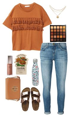 """Untitled #66"" by cannjoy on Polyvore featuring MANGO, Current/Elliott, Birkenstock, Liberty and Tory Burch"