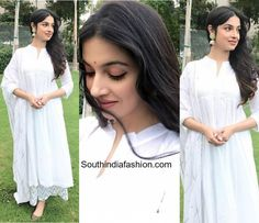 Divya Khosla Kumar in The Loom – South India Fashion Prom Girl Dresses, Indian Gowns Dresses, Pakistani Dresses, Indian Attire, Indian Ethnic Wear, Ethnic Outfits, Indian Outfits, Divya Kumar, White Anarkali