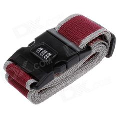 Brand: N/A; Quantity: 1; Color: Black + red +grey; Material: Polypropylene fiber + plastic; Features: Reliable & secure; Used for reinforcing suitcase, avoiding damaged in the travel; Packing List: 1 x Luggage belt (2m); http://j.mp/1tozYEL
