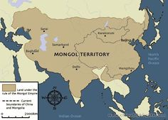 When Chinggis died in 1227, the vast territories of the Mongols were divided among three sons and a grandson