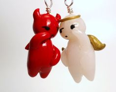 Your Conscience  Good And Evil Polymer Clay Earrings  by Outpost8, $16.00