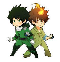 "they're so similar it hurts | Midoriya ""Deku"" is from My Hero Academia and Tsuna is from Katekyo Hitman Reborn"