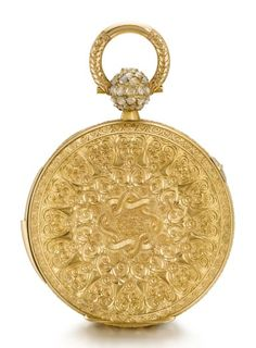 A LARGE AND HEAVY GOLD TRIPLE CALENDAR TWO TRAIN PIVOTED DETENT POCKET CHRONOMETER WITH DEAD CENTRE SECONDS AND QUARTER REPETITION MADE FOR THE RUSSIAN MARKET CIRCA 1850, NO. 31226 [[ 大型黃金全日曆二問懷錶備跳秒指針及雙傳動樞軸式天文鐘擒縱系統,為俄羅斯市場製造,年份約1850,編號31226]] | Masterworks of Time: Splendours for the East 「時間傑作:西器東傳」2020 | Sotheby's White Enamel, Clock, Jewels, Gold, Accessories, Watch, Jewerly, Clocks, Gemstones