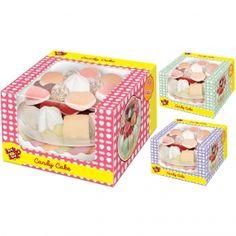 Look-O-Look Candy Cake Geschenkverpackung mit Tortenkreation aus 48 Schaumzucker- und Fruchtgummi-Stücken mit Fruchtgeschmack auf Kunststoff-Unterlage. Mit Grußfeld.