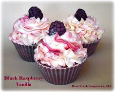 Black Raspberry Vanilla Cupcake Soap // Milk Soap // Dessert Soap