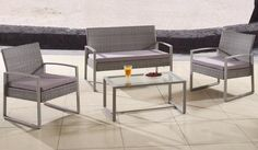 Hawi 4PC Modern Rattan Outdoor Set