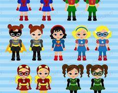 50% de DESCUENTO VENTA Superchicas, chicas de imágenes prediseñadas de superhéroe del paquete del superhéroe chicas Supergirl 2