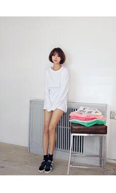 韓国最新ファッション通販|ルーズフィットホワイトカットソー♪全1色・ロング・ベーシック | BEST | IMVELY《イムブリー》