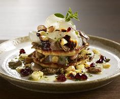 """PlateOnline.com - Recipe Database - """"Napoleon"""" of corn blini, chanterelles, shell beans and roasted onions with red currant compote"""