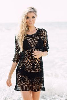 Crochet Beach Cover up - Boho Crochet Tunic Black JValdi
