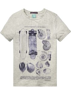 New from Scotch Shrunk, a beautiful, high quality t-shirt with denim  inspired print. Skate boards and shells. It s a winner for inte 7b4f237869