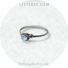 Tiny Aurora Borealis Ring, Antiqued Sterling Silver ring, wire wrapped ring, wire wrapped jewelry handmade, unique rings, opal ring