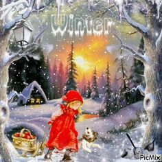 jour de hiver contest Vintage Winter, Vintage Christmas, Animation, Christmas And New Year, Snow Globes, Gifs, Creations, My Love, Awesome