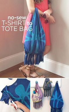 Upcycle your favorite T-shirt into a fun tote that's perfect for the beach - no sewing required for this DIY tutorial.