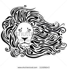 black silhouette of stylized lion head with a beautiful mane by Julianka, via Shutterstock