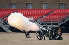 Members of the The King's Troop Royal Horse Artillery fire a 41-gun royal salute in Horse Guards Parade. The gun salute coincided with salutes fired from various points around Britain, including the Tower of London; Edinburgh, Scotland; Cardiff, Wales; and Belfast, Northern Ireland.