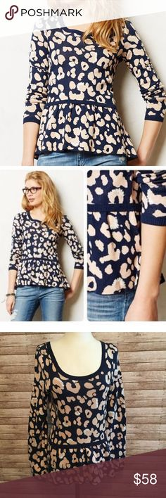 """🎀🎀MOTH {Anthropologie} LEOPARD Peplum Sweater S 🎀crew neckline 🎀peplum style flare hem 🎀length 27"""" 🎀bust 18-20"""" across 🎀Whether paired with skinnies or a pencil skirt, peplum tops never fail to create a flattering silhouette. The bold leopard motif on this jacquard piece gives a classic style a modern makeover. By Moth. Pullover Styling. Cotton, acrylic, nylon. Hand wash 🎀color: navy/tan/white 🎀 Anthropologie Sweaters Crew & Scoop Necks"""