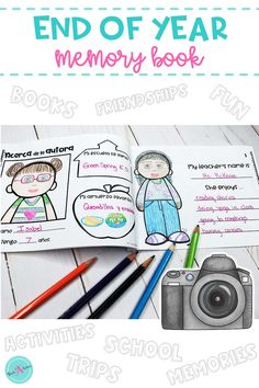 Students capture their favorite and most fun memories. with this end of the year memory book. Adaptable for students in Kindergarten, first grade, and 2nd grade. Students write and draw to tell anout their elementary school year. Parents will love learning about their kids year through this activity. Printable worsheets (pages) are doubled to make prepping easy & fast.  This book comes in Spanish & English and includes an all about me (the author) page.