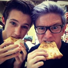 Tyler and Troy eating pizza!!
