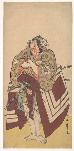 Kabuki Actor Ichikawa Danjūrō V in a Shibaraku (Stop Right There!) Role Artist: Katsukawa Shunshō (Japanese, 1726–1792) Period: Edo period (1615–1868) Date: 11th month, 1779 Culture: Japan Medium: Polychrome woodblock print; ink and color on paper