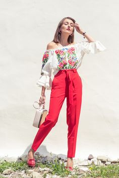 red pants ethnic blouse