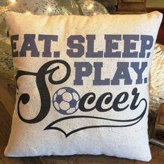 Soccer Pillow, 12x18 lumbar, Eat Sleep Play Soccer, sports, boys, girls, soccer…
