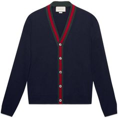 Gucci Wool Cardigan With Web ($665) ❤ liked on Polyvore featuring men's fashion, men's clothing, men's sweaters, men, ready to wear, gucci mens sweater, mens wool sweaters, mens wool cardigan sweaters, mens sweaters and mens cardigan sweater