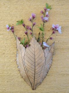Clay Leaves Wall Pocket Made with 3 Real Leaves by SallysClay: