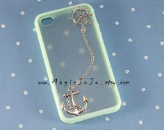 Vintage style silver Rudder and Anchor iPhone 4 4s 5 case,Mint green/ rosy/ pink iPhone case cover on Etsy, $2.19 AUD