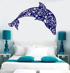 Vinyl Wall Decal Dolphin Seashells Sea Ocean Style Anchor Stickers (1500ig) Dolphin Bedroom, Ocean Bedroom, Girls Bedroom, Blue Bedroom Ideas For Girls, Bedroom Themes, Bedroom Decor, Back The Blue Decal, Custom Vinyl Lettering, Master Bedroom Design