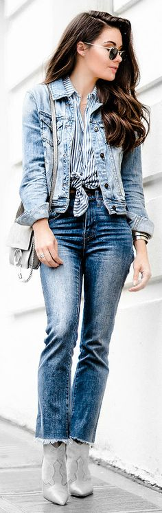 Classic retro style + double denim trend + waist tie striped shirt + cowboy boots + Sarah Butler + effortlessly chic + infinitely trendy  Jeans/Shirt: Madewell, Jacket: Forever 21, Bag: Chloe.