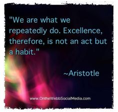 """We are what we repeatedly do. Excellence, therefore, is not an act but a habit."" ~Aristotle"