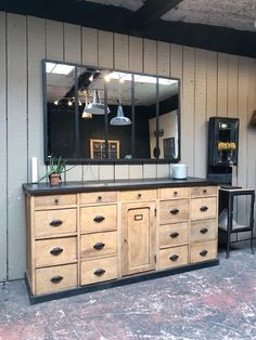 Old cabinet furniture with drawers in oak – 1 Door – Early Twentieth – Drawer dimensions: 31 x 37 x 31 x 40 x 19 Inner depth: Source by Cabinet Furniture, Furniture Makeover, Cabinet Drawers, Old Cabinets, Marble Vanity Tops, Record Storage, Industrial House, Dining Room Table, Sideboard